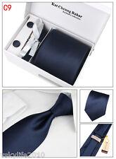 Mens Tie Set Dress Silk Tie Cufflinks Hanky Tie Clip Gift Box Dark Blue Strips