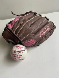 "Rawlings Model FP115 11 -1/2"" Leather Baseball Glove Pink Logo Left Hand"