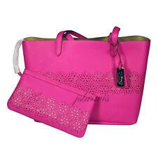 RALPH LAUREN Laser Cut Perforated Chantilly II Classic Tote Bag & Clutch • Pink