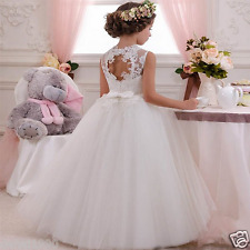 Girls White First Holy Communion Dresses Sash Beading With Bow Flower Girl Dress