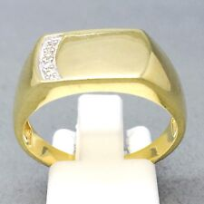 "9CT GOLD ON 925 STERLING SILVER CUBIC ZIRCON SIGNET DRESS RING SIZE ""T""  1402"