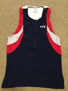 TYR USA Sleeveless Vest Cycling Triathlon Bike Trek Jersey Shirt Top Men's Sz M