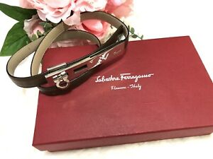 Authentic Salvatore Ferragamo Gancini Logo Adjustable Thin Brown Leather Belt