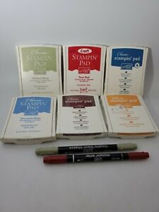 Retired Classic Stampin' Up! Ink Pads LOT OF 6 and 2 Markers Pre-owned