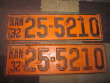 Kansas 32 1932 LICENSE PLATE Plates MATCHING NUMBER PAIR  FORD CHEVY DODGE LOCZ3