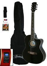 Santander 4/4 Akustik Western Gitarre Set Cutaway Stimmgerät Tonabnehmer Schwarz