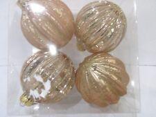"Shabby Chic Rose Gold Glitter 3.5"" Christmas Plastic Ornaments Decor Set of 4"
