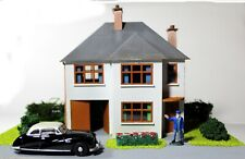 00 Scale 1930's Detached House With Garage and Garden, Diorama.