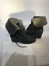 ugg australia Ladies Black Suede Wedge Heel Boots Slim Foot Uk 4/4.5 Ref B017