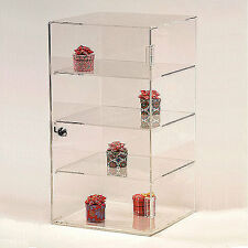 "Acrylic Countertop Showcase Square 4 Shelves 10"" x 10"" x 18 1/2""H"