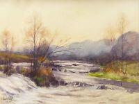 Léon PETIT (1885-1965) Paesaggio Di Montagna .rivière Becken Set Due Dati Tappo