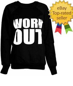 Ladies Women Work out Slogan Fleece Sweatshirt Jumper Pullover New UK