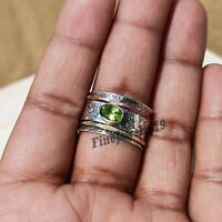 Peridot Ring Solid 925 Sterling Silver Spinner Ring Meditation Ring Jewelry Z53