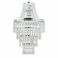 Modern Easy Fit Chrome & Clear Acrylic Crystal Chandelier Style Light Shade