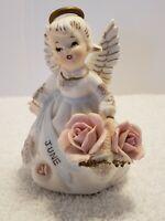 """Vintage Lefton Porcelain June Angel Figurine Basket of Flowers #3332 4 1/4"""""""