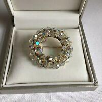 Vintage 1950s Aurora Borealis Wreath Brooch Round Sparkly Statement Rainbow