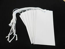 100 White Recycled Large Swing Tags Strung with Cotton 50mm x 100mm