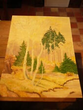 Painting On Cardboard Foret Landscapes Sign Dromer - Cote Akoun