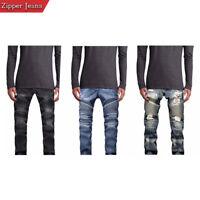 Mens Skinny Destroyed Biker Slim Fit Straight Fashion Stretch Biker Zipper Jeans