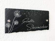 Tür Namens Klingel Schild Haus Nummer Schiefer mit Gravur Pusteblume anthrazit