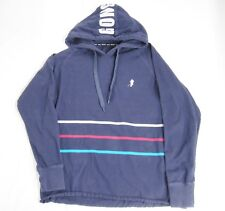 GongShow Mens Navy Blue Hoodie Cotton Knit Striped Large Hockey Player Apparel