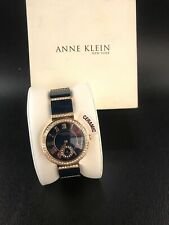 Anne Klein 12/2300NVRG Women's 33mm Rose Gold Tone/Navy Crystal Accent Watch