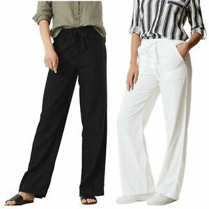 M&S Womens Wide Leg Trousers Linen Rich Elasticated Waist Soft Pants RRP £35 301