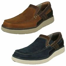 Mens Clarks Rounded Toe Casual Slip On Leather Shoes Un Abode Free