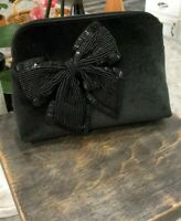 Kate Spade Cameron Street Velvet Bow Small Briley Cosmetic Case Msrp $98 Black