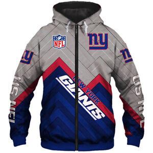 New York Giants Men's Hoodie Full Zip Hooded Sweatshirt Casual Jacket Coat gift