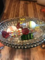 Vintage Blown Glass Wrapped Candy Lot of 6 Colorful Pieces With Glass Candy Dish