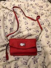 Nine West Red Tote Purse Shoulder Bag Leather Inside Make Up Wallet Bag Gift NEW