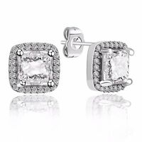 Elegant Woman Sterling 925 Silver Ear Stud CZ Crystals Dangle Earrings Jewelry