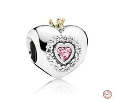 New Authentic GENUINE PANDORA Silver & 14ct Gold Princess Heart Charm 791375PCZ