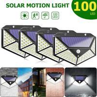 4x 100 LED Outdoor Solar Power Wall Light PIR Motion Sensor Garden Security Lamp