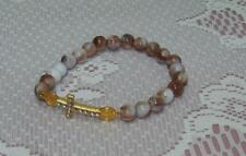 "NEW Religious Stretch 7"" Bracelet Multi-Brown Glass Beads Rhinestone Cross Gift"