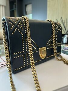 Dior Diorama Cannage Bag Wallet On Chain Navy Leather Antique Gold with Receipt