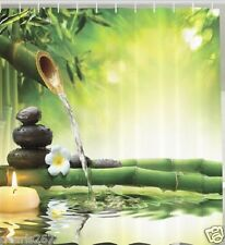 Zen Bamboo Fabric SHOWER CURTAIN Spa Stones Asian Tranquility Bath Oasis Decor