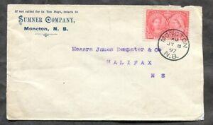 p448 - MONCTON NB 1897 Sumner Co Corner Cover. 3c Jubilee