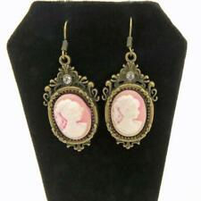 Drop Earrings Pink Cameo Drop Earrings Antique Gold Tone Vintage Jewelry