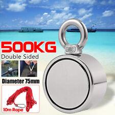 500KG Double Side Neodymium Metal Magnet Detector Sea Fishing Hunting 10M Rope