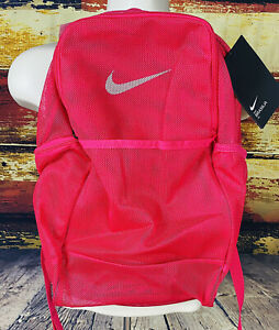 New Nike Backpack Mesh Transparent Bag Neon Pink School Gym Travel Lightweight