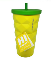 Starbucks Hawaii Pineapple Steel Cold Cup Tumbler With Straw 16oz Grande