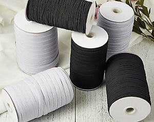 Flat WHITE Elastic BLACK Elastic Cord 3mm 5mm 6mm Sewing Elastic Face Mask