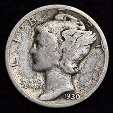 1930-S Mercury Dime / Circulated Grade Good / Very Good 90% Silver Coin
