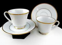 """NORITAKE JAPAN CHINA DYNASTY #2018 GOLD AND WHITE 4PC 3"""" CUP AND SAUCER SETS"""