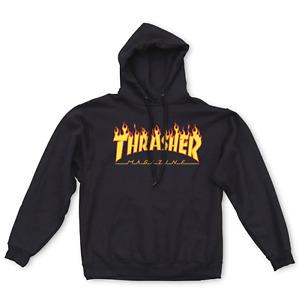 THRASHER SKATEBOARD MAGAZINE HOOD BLACK FLAME PRINT AUSTSELLER HOODY SWEATER NEW