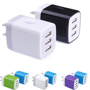 3 Port USB Home Wall Fast Charger For Cell Phone iPhone Samsung Android