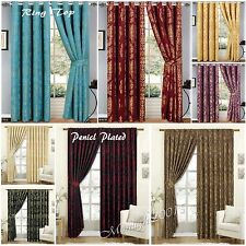Ring Top or Pencil Pleat 100% Jacquard Pair of Curtains Fully Lined & Cushions