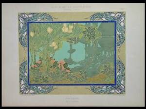 ART NOUVEAU LANDSCAPE, EMILE SEGUY - 1901 LITHOGRAPH - FRENCH ART NOUVEAU
